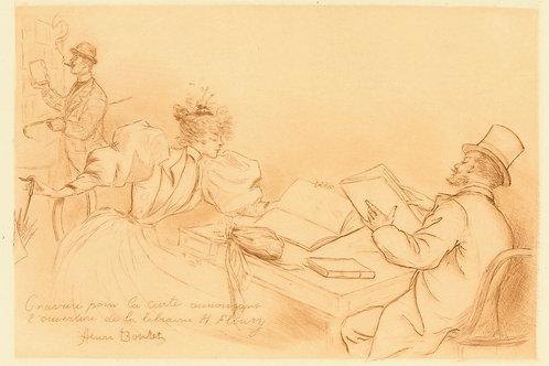 1894 HENRI BOUTET Pointe sèche LIBRAIRIE H. FLOURY CARTE etching 1/400 ex.