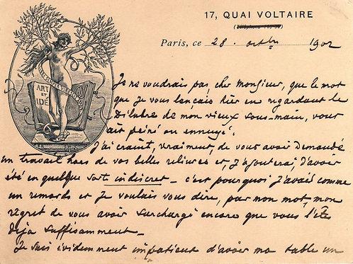 Carte-lettre illustrée Octave Uzanne bibliophile homme de lettres à un relieur 1
