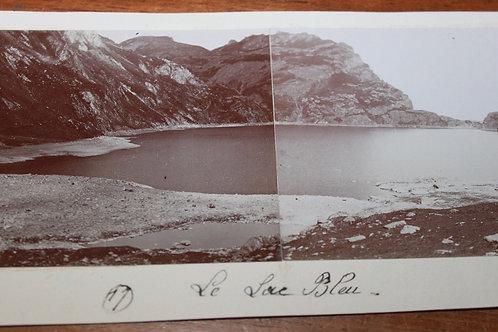 Photographie ancienne 1899 Le Lac Bleu Hautes Pyrénées Bigorre Lesponne Panorama