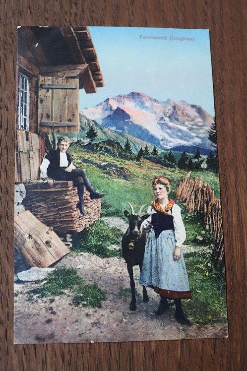 CPA couleurs chalet Chèvres bergers Jungfrau Suisse Alpes Bernoises Montagne
