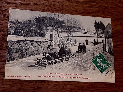 CPA Luge Descente en Bobsleigh St Dié Vosges Montagne