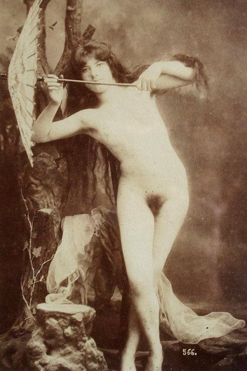 Nu. Photographie originale, épreuve albuminée contrecollée, vers 1880