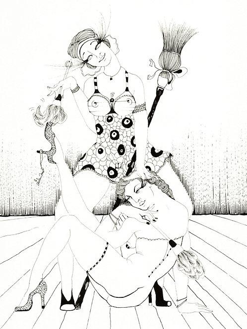 Lulu Amere. Les Bonnes (2011). Encre de Chine originale érotique.