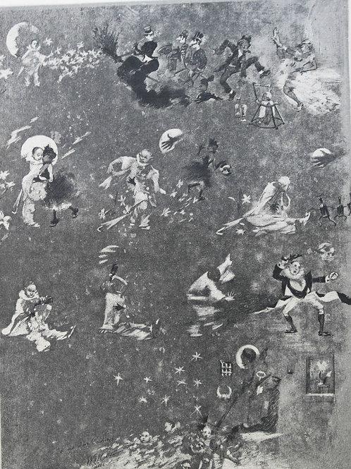Estampe originale gravure sur cuivre par Adolphe Willette Pauvre Pierrot v. 1885