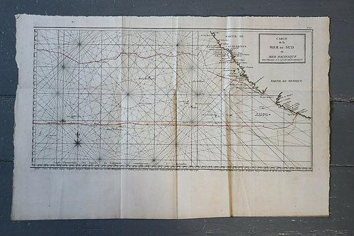 1750 Antique Map Carte géographique Mer Sud Pacifique Anson Superbe California
