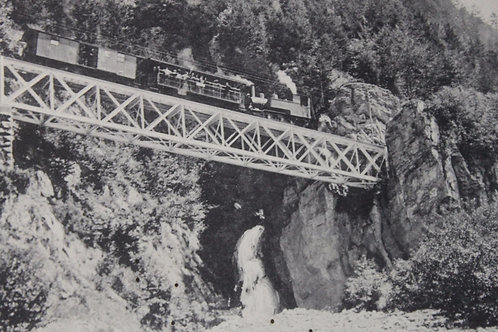 Brünigbahn Suisse Train à vapeur sur le pont de fer CPA comme neuve non voyagée