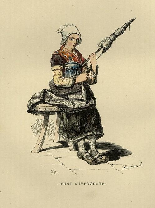 1842 FEMME AUVERGNAT AUVERGNE THIERS Français gravure estampe aquarellée époque