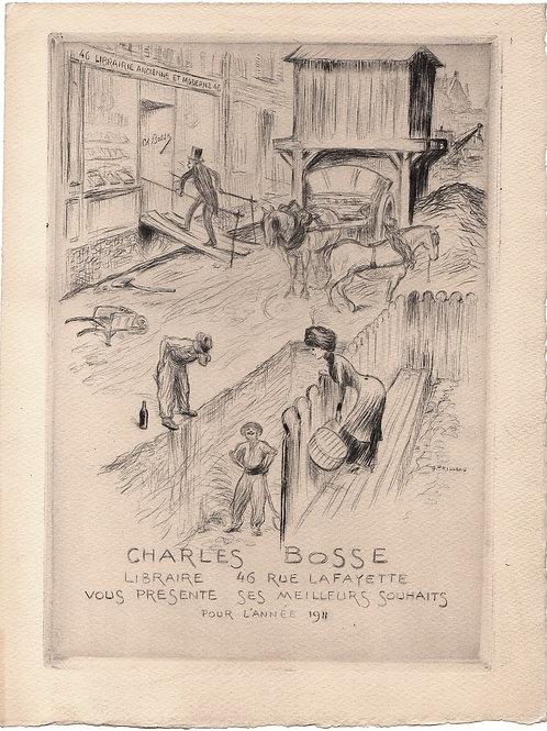 Librairie ancienne Charles Bosse. Carte de voeux pour la nouvelle année 1911