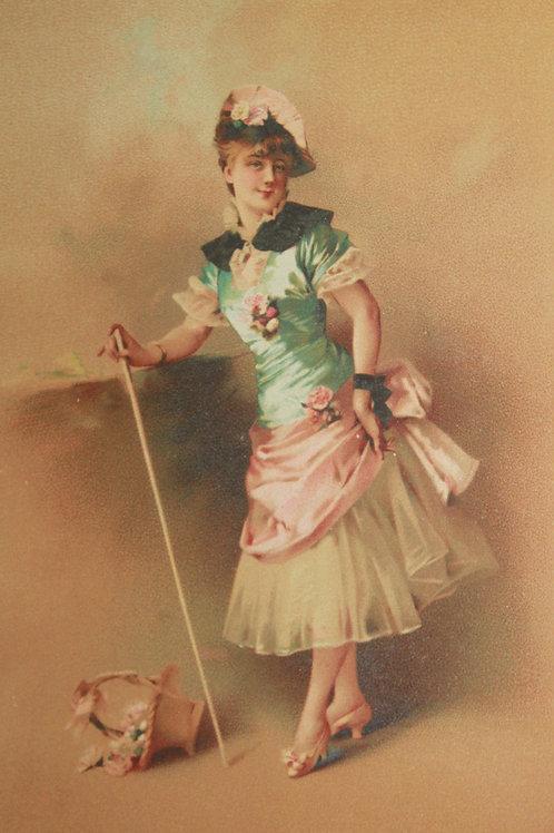 Chromolithographie Maison Testu & Massin 1880 jeune femme