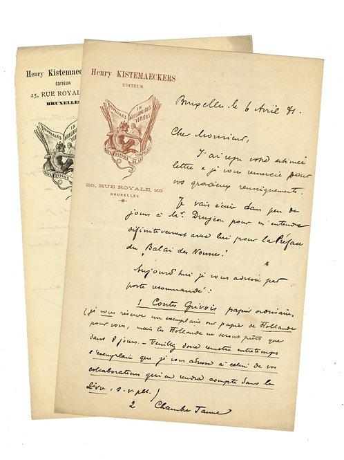 Henry Kistemaeckers éditeur (Belgique). 1881-87 7 lettres autographes à Uzanne