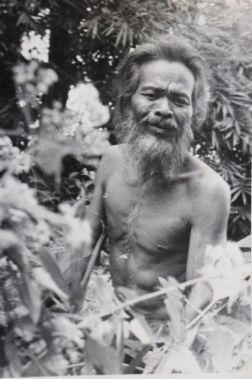 Photographie ancienne 1937 Viêt Nam Vinh Long Vieillard Moï 14 cm x 19 cm