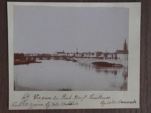 Photographie ancienne 1899 Toulouse Vue prise du Pont Neuf