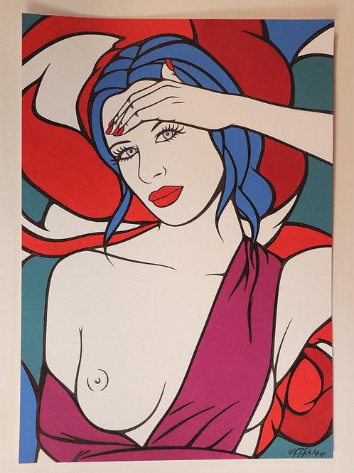 """Sophie Dumont. Dessin original sexy 29,5 x 21 cm acrylique et stylo """"LOUISA"""""""