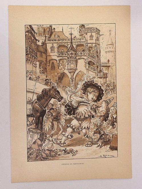 1886 Albert Robida Gravure en couleurs chromotypogravure Rabelais n°3  Pantagrue