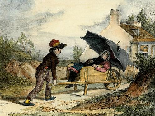 GAVARNI Lithographie originale aquarellée gommée PROMENADE CHAMPÊTRE ENFANTS