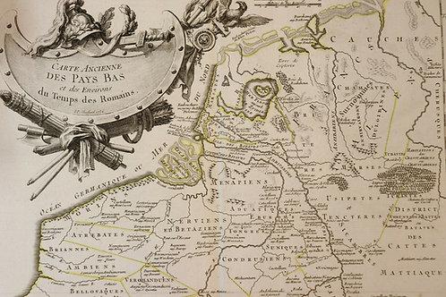 1756 Map Carte géographique Atlas Ph. Prétot Lattré Pays Bas Hollande Romains