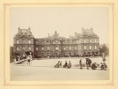 Paris 1890 Photo ancienne scène animée Tirage albumine 1 Jeux d'enfants fontaine
