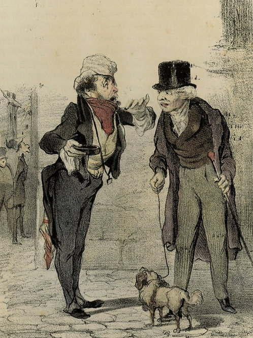 1839 Daumier Les Robert-Macaire Planche n°11 Caricature XIXe coloris époque rare