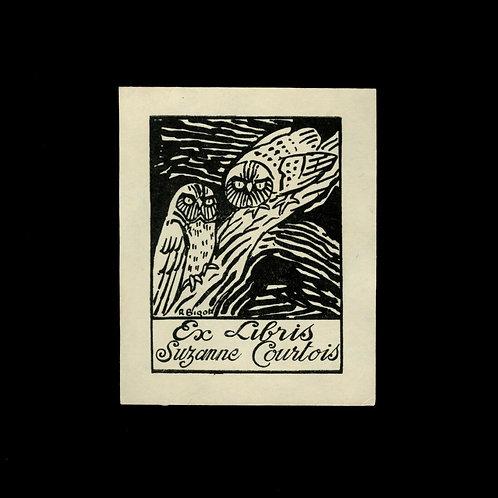 Suzanne Courtois Ex Libris gravé sur bois 61 x 51 mm sur papier Japon Hiboux
