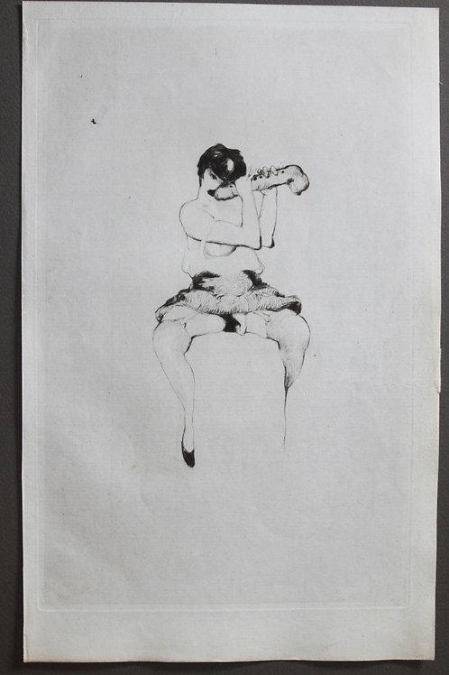 Estampe originale érotique de Frans de Geetere (1930). Légende des Sexes