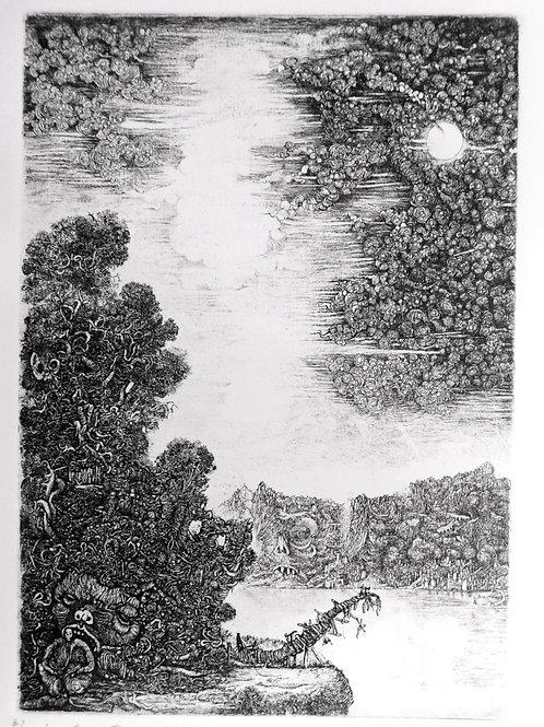 """Georges Rubel. Estampe originale numérotée et signée 1973 """"Pont traversé"""""""