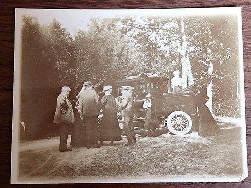 Photographie ancienne 1900 voiture diligence hommes femmes élégants mode costume
