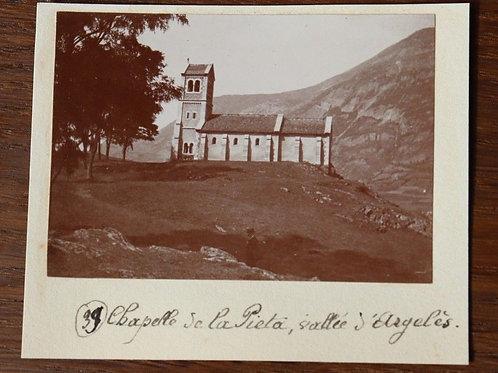 Photographie ancienne 1899 Chapelle de la Pieta Vallée D'Argelès Occitanie