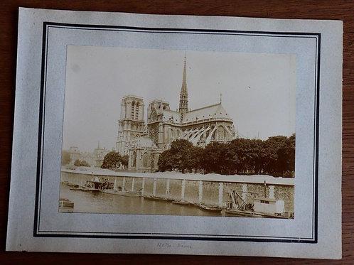 Paris 1900 Photographie ancienne 1900 Cathédrale Notre-Dame Seine péniches