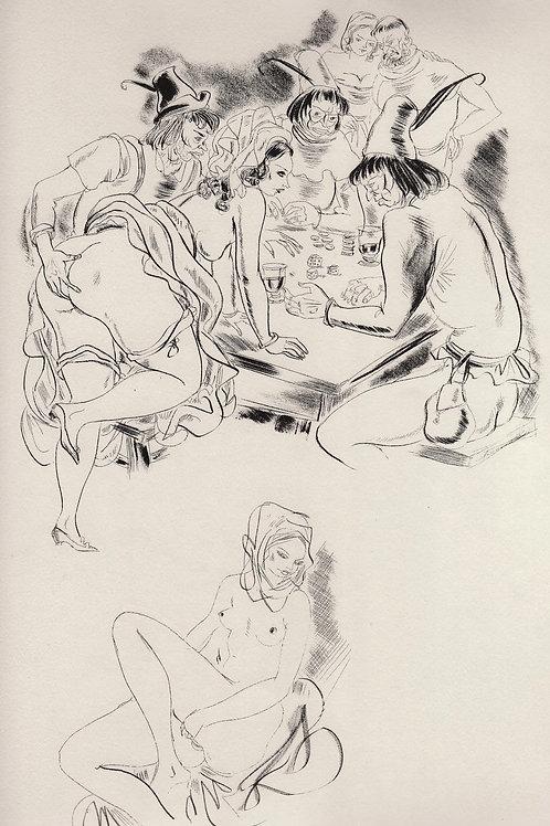 Le Grant Testament de Françoys Villon illustré par Schem (1948). Dessin original