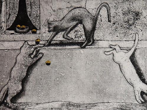 """Estampe originale contemporaine signée en E/A """"Les chats qui jouent"""""""