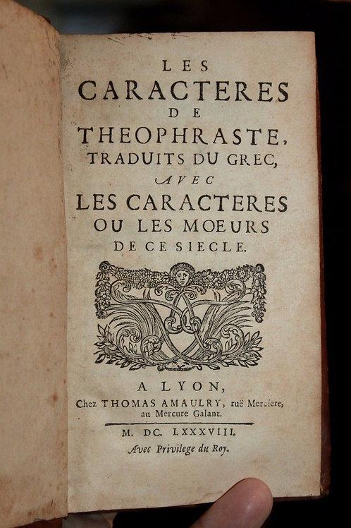 Les Caractères de La Bruyère. Rare édition lyonnaise de 1688 (année de l'EO)