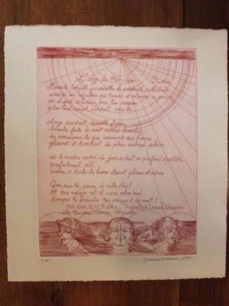 1975 Jeanne Esmein Estampe originale n°1/12 L'ange du méridien de Rainer Maria R