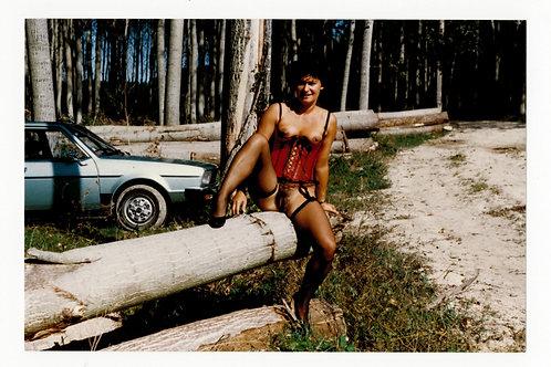 Photographie Amateur Vintage Nu féminin vers 1985. Exhibitionnisme. Ref. XX5