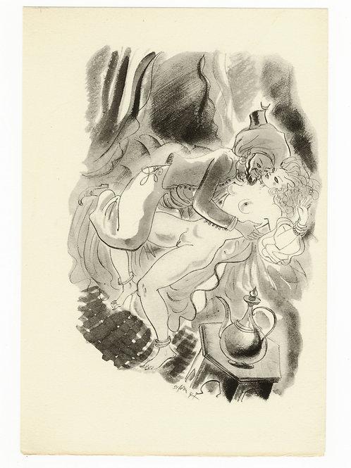 Estampe érotique par Schem (Raoul Serres). Vers 1947. N°9