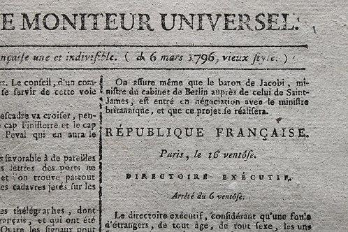 Gazette Nationale ou Moniteur Universel (1796). Révolution française