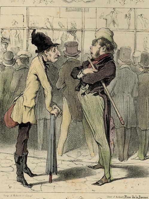 1839 Daumier Les Robert-Macaire Planche n°85 Caricature XIXe coloris époque rare