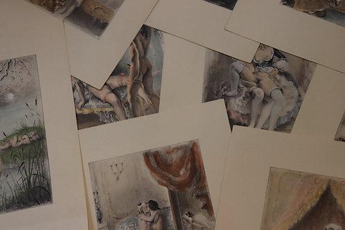 Paul-Emile Bécat. Fanny Hill, suite de gravures (10) rehaussées en couleurs 1940