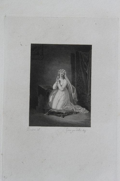 Achille Devéria. Estampe sur acier pour la Nouvelle Héloïse (1827). Épreuve rare