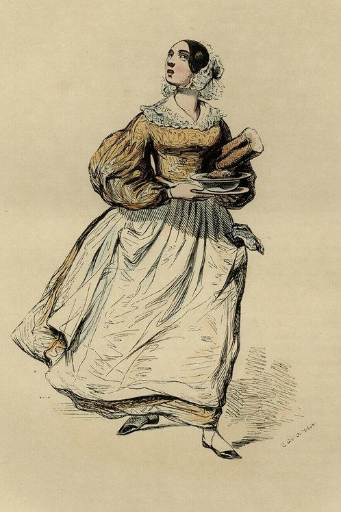 1842 LA FILLE D'AUBERGE estampe aquarellée Les Français peints