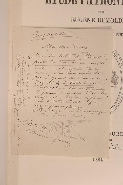 E. Demolder. Félicien Rops. Etude patronymique (1894). Hollande. Autographe