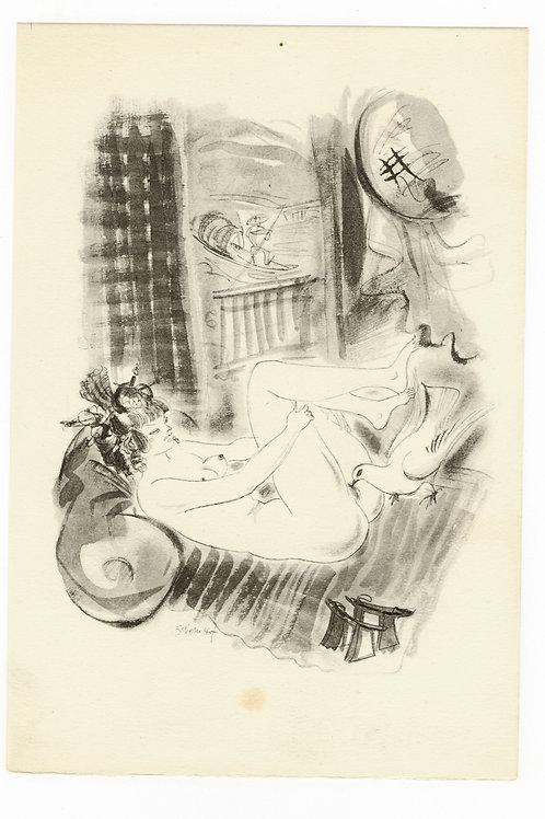 Estampe érotique par Schem (Raoul Serres). Vers 1947. N°1