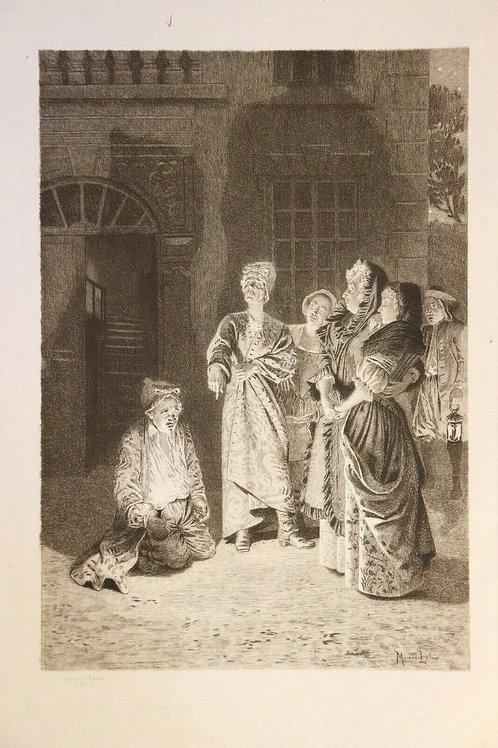 Estampe ancienne vers 1880 1890 Molière Scène théâtre Jacques Leman Géry Bichard