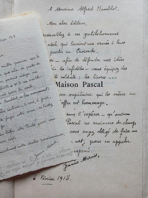 La Maison Pascal par Jeanne Marais (1913). Ex. Japon avec lettre autographe