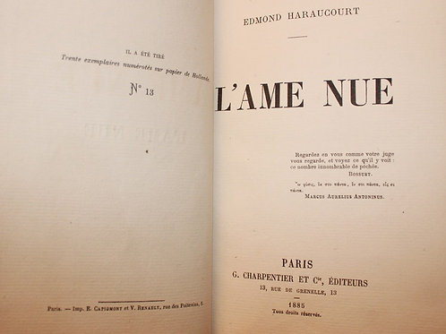 """L'Âme nue d'Edmond Haraucourt (1885). Exemplaire sur Hollande. Reliure """"Op Art"""""""