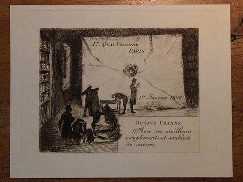 Carte de voeux pour Octave Uzanne (1890). Félix Buhot