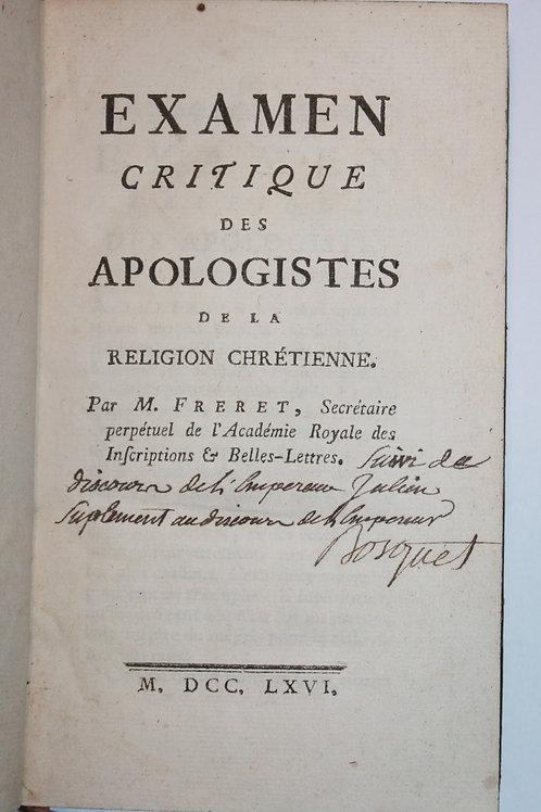 Athéisme et Matérialisme. Examen critique des Apologistes (1766)