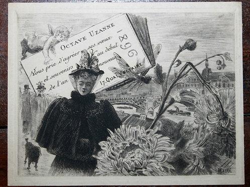 Carte de voeux pour Octave Uzanne (1896). Frédéric Massé