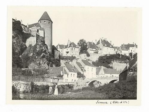 Photographie ancienne vers 1910 Semur-en-Auxois Côte d'Or Bourgogne Pont Pinard