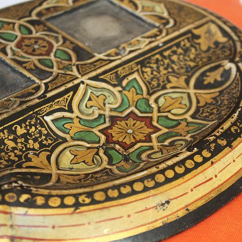 Encrier bois peint laqué doré vers 1900 orientaliste