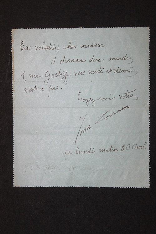 Jean Lorrain à Pierre Louÿs. Carte-Télégramme (1894)